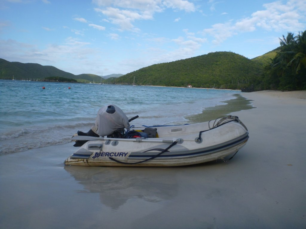 Dinghy on Cinnamon Bay Beach